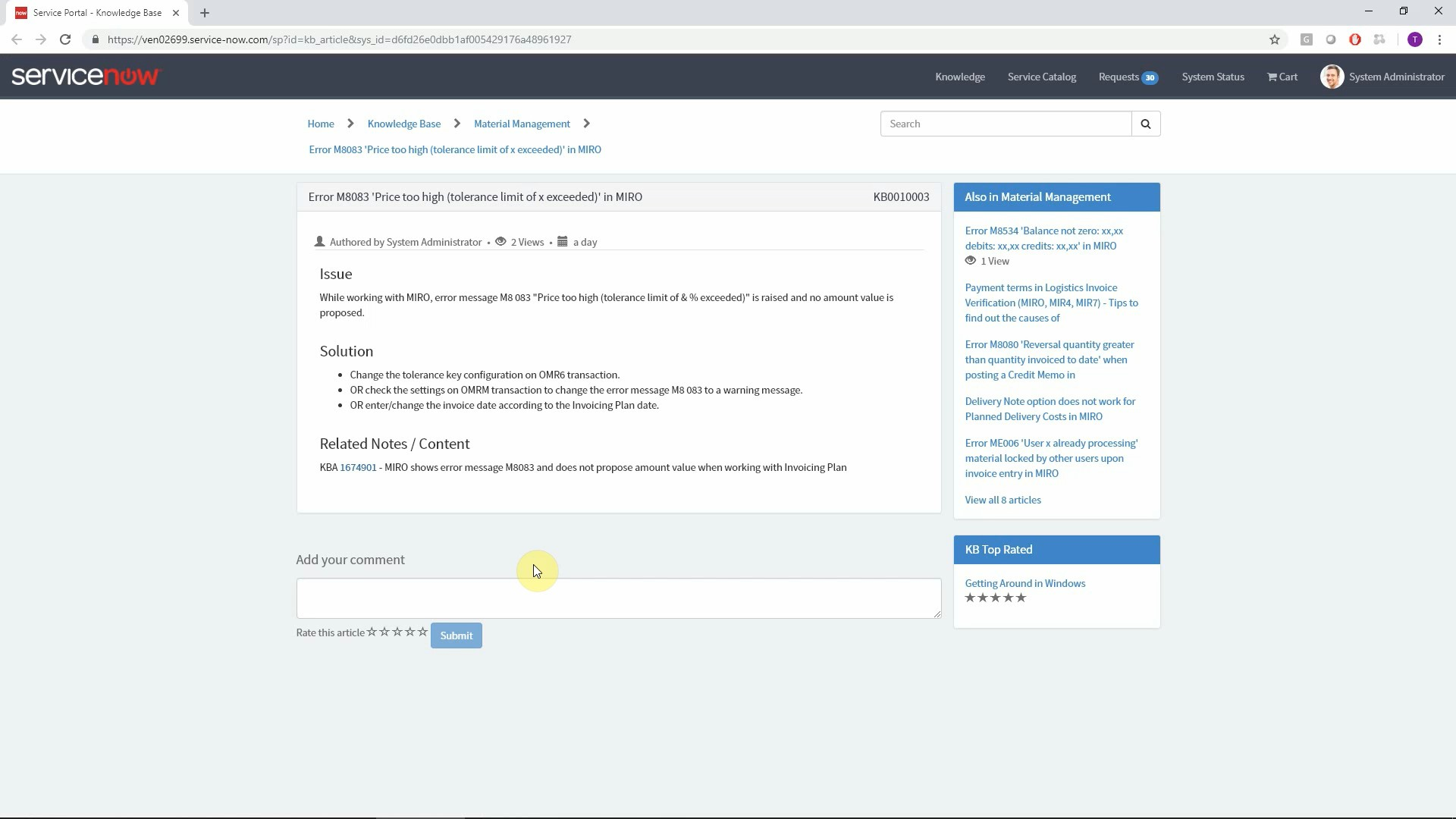 Display relevant Knowledge Base Articles in SAP to reduce ticket