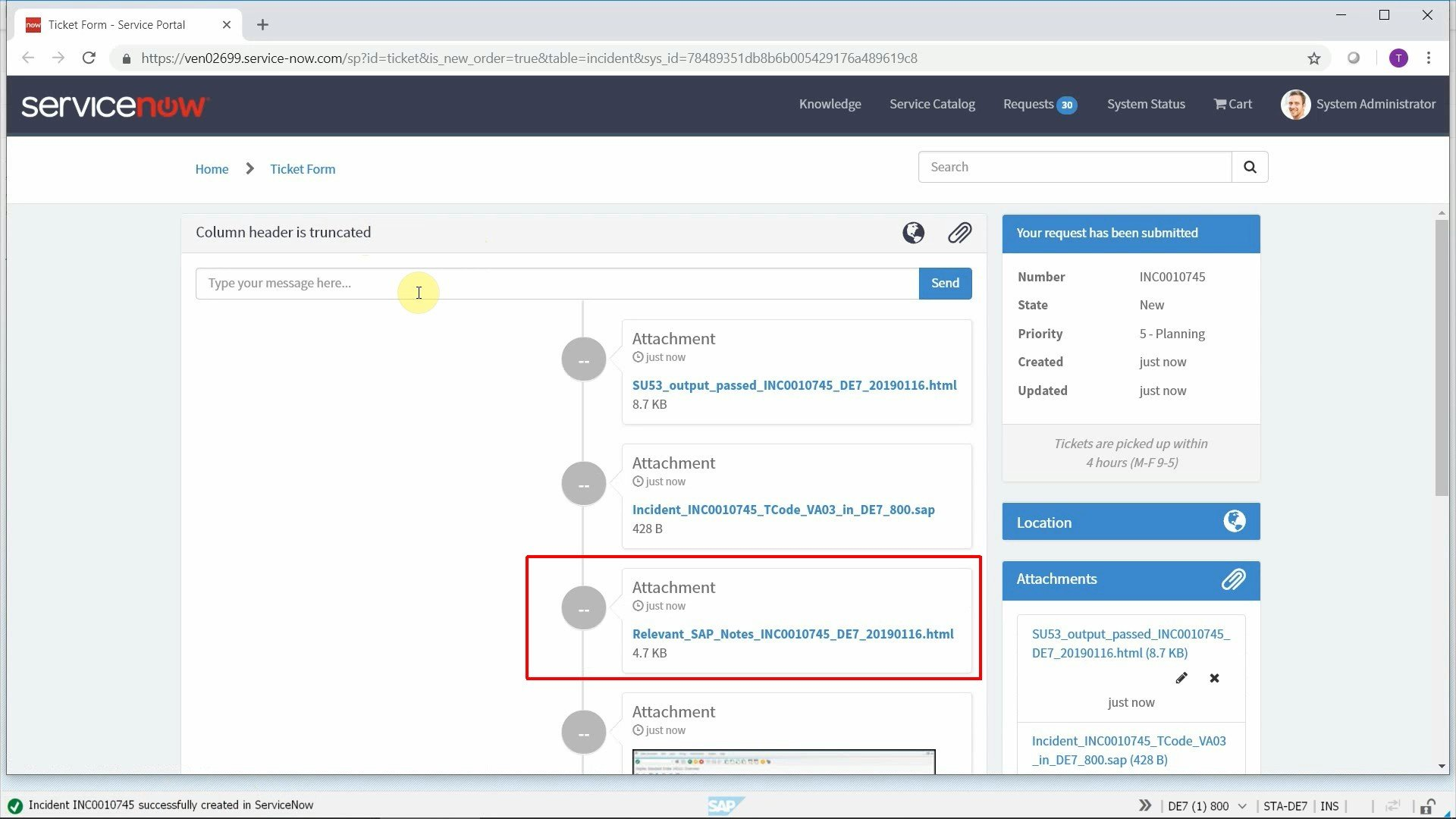 Attach SAP Note search results to incidents automatically